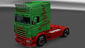 Red and Green Christmas paint for Scania RJL