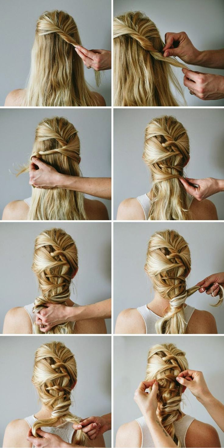LOVE the way that the hair is weaved in this style - perfect for the girl that does not want curls!