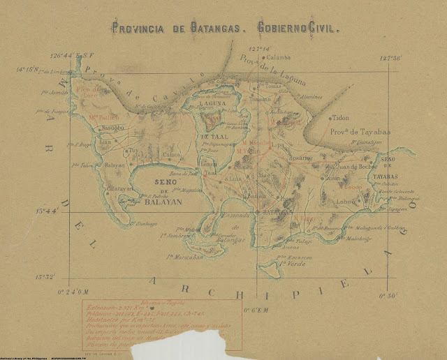 Spanish era map of Batangas.  Image source:  National Library of the Philippines.
