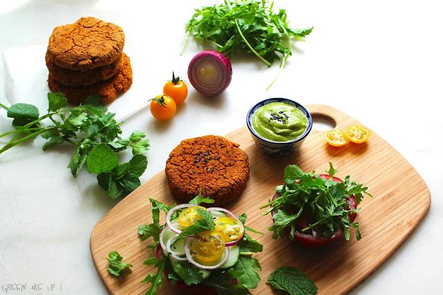 burger lentilles thaïe sauce courgette
