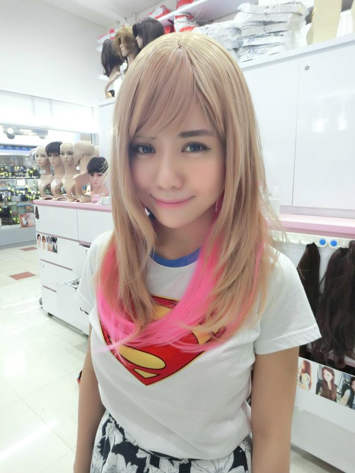 #NEW Korean Kpop milky blonde + pink wig
