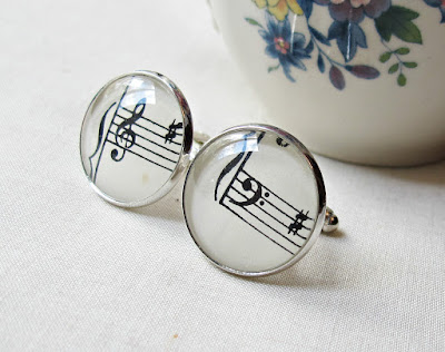 image two cheeky monkeys men's cufflinks sheet music treble clef bass clef cuff links vintage