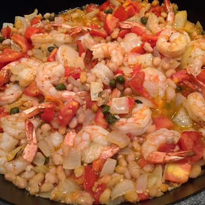 ... Over 7 Days – Broiled Shrimp, White Beans, Tomatoes and Onion
