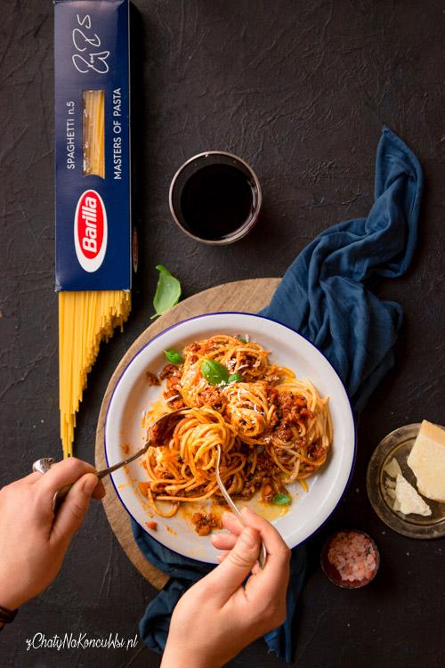 Spaghetti bolognese z wołowiną.