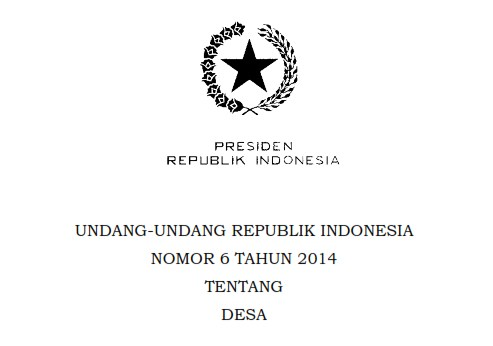 UNDANG-UNDANG REPUBLIK INDONESIA NOMOR 6 TAHUN 2014 TENTANG DESA BAB II Pasal 5