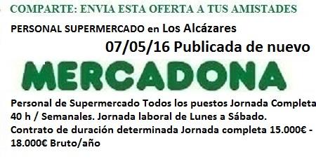 Los Alcázares, Murcia. Lanzadera de Empleo Virtual. Oferta Mercadona