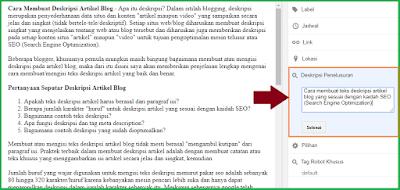 Contoh Membuat Deskripsi Artikel Blog