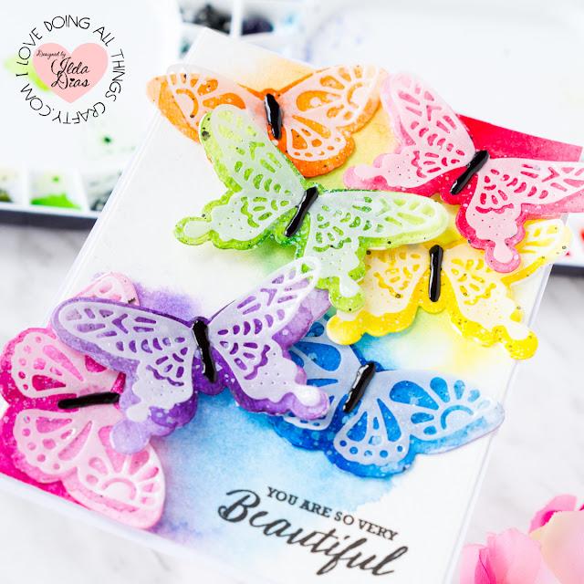 Beautiful Butterflies Friendship Card ft. Stephanie Low's Wandering Butterflies Etched Dies by ilovedoingallthingscrafty