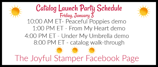 Stampin' Up!'s January-June Mini and Sale-A-Bration 2020 catalog launch party schedule for January 3 on The Joyful Stamper Facebook page