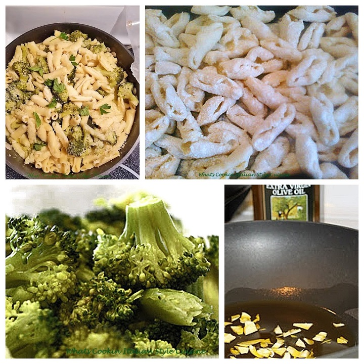 this is a collage of broccoli and cavatelli