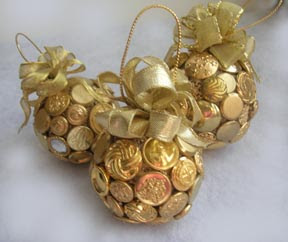 Gold button ornament