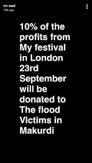 Mr Eazi set to donate 10% of his London Festival profit to Benue flood victims