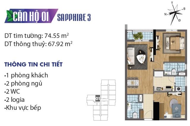 Thiết kế căn hộ số 1 tòa Sapphire 3