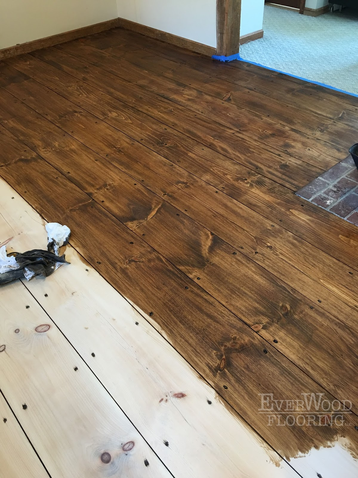 Wide Plank Pine Stain Refinish Windham NH