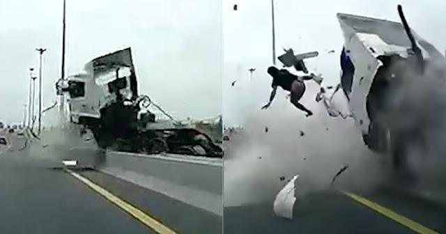 Οδηγός νταλίκας εκτοξεύτηκε στο αντίθετο ρεύμα επειδή τον πήρε ο ύπνος
