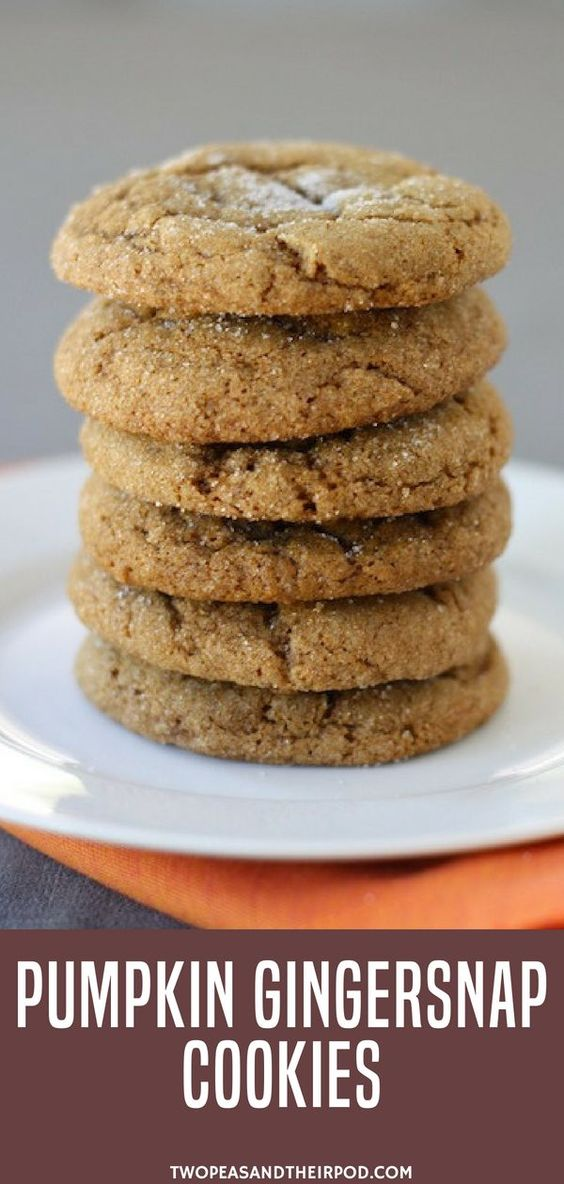 Time for some pumpkin cookie desserts! Make these Pumpkin Gingersnap Cookies. Pumpkin cookies meet gingersnap cookies and the results are AMAZING! You will love these pumpkin gingersnap cookies, they are the perfect fall dessert. Make this easy pumpkin recipe now! More family fall pumpkin recipes at twopeasandtheirpod.com. Comment if you try making this easy recipe. #cookies #pumpkin #fall