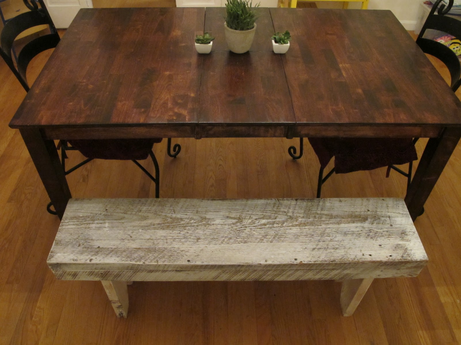 AFTER. Colossal DIY Fail       Or Rustic Dining Room Table Makeover