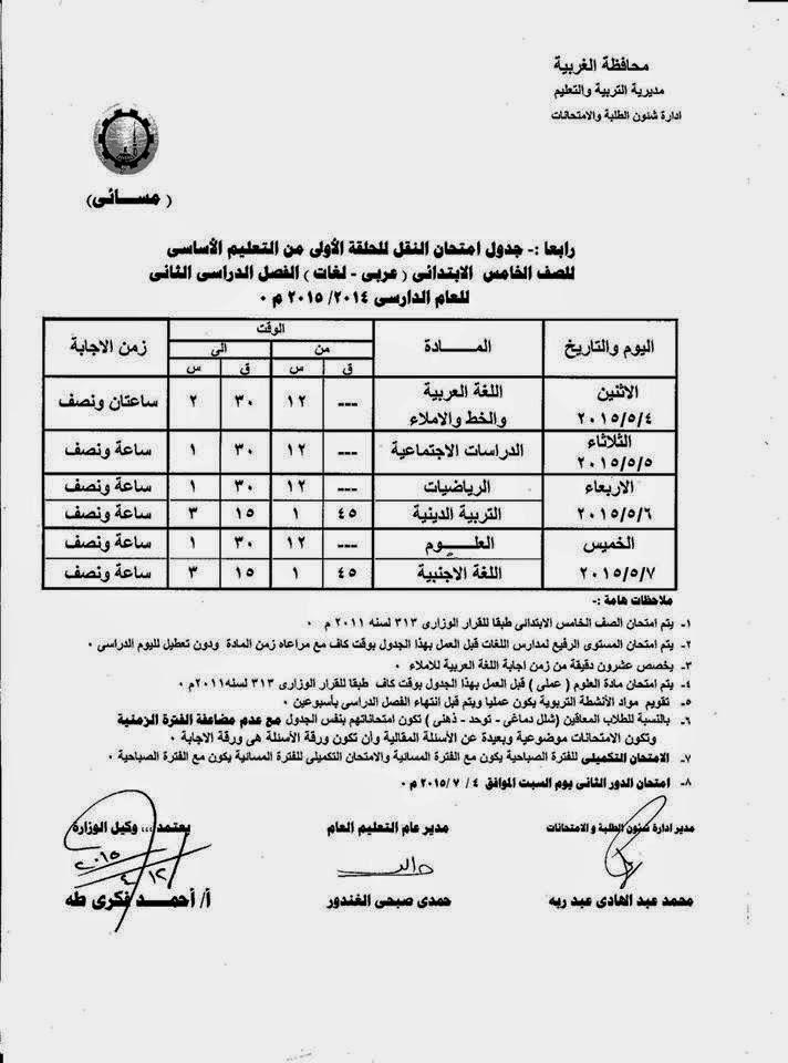 جداول امتحانات كل فرق الغربية أخر العام2015 10924713_10941184572