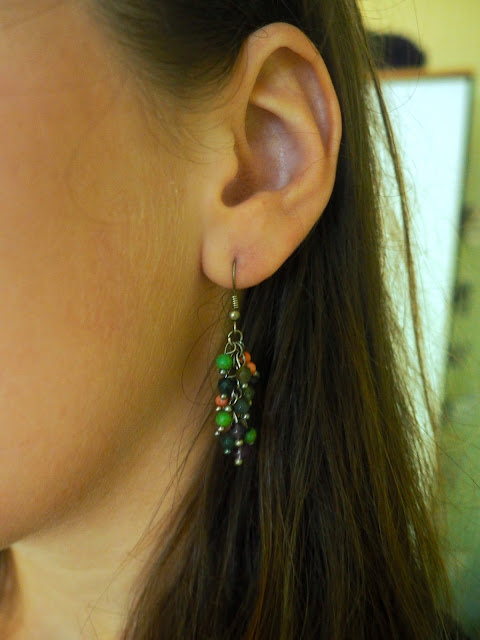 Sheer Fantasy | outfit jewellery details of green and purple beaded dangly earrings