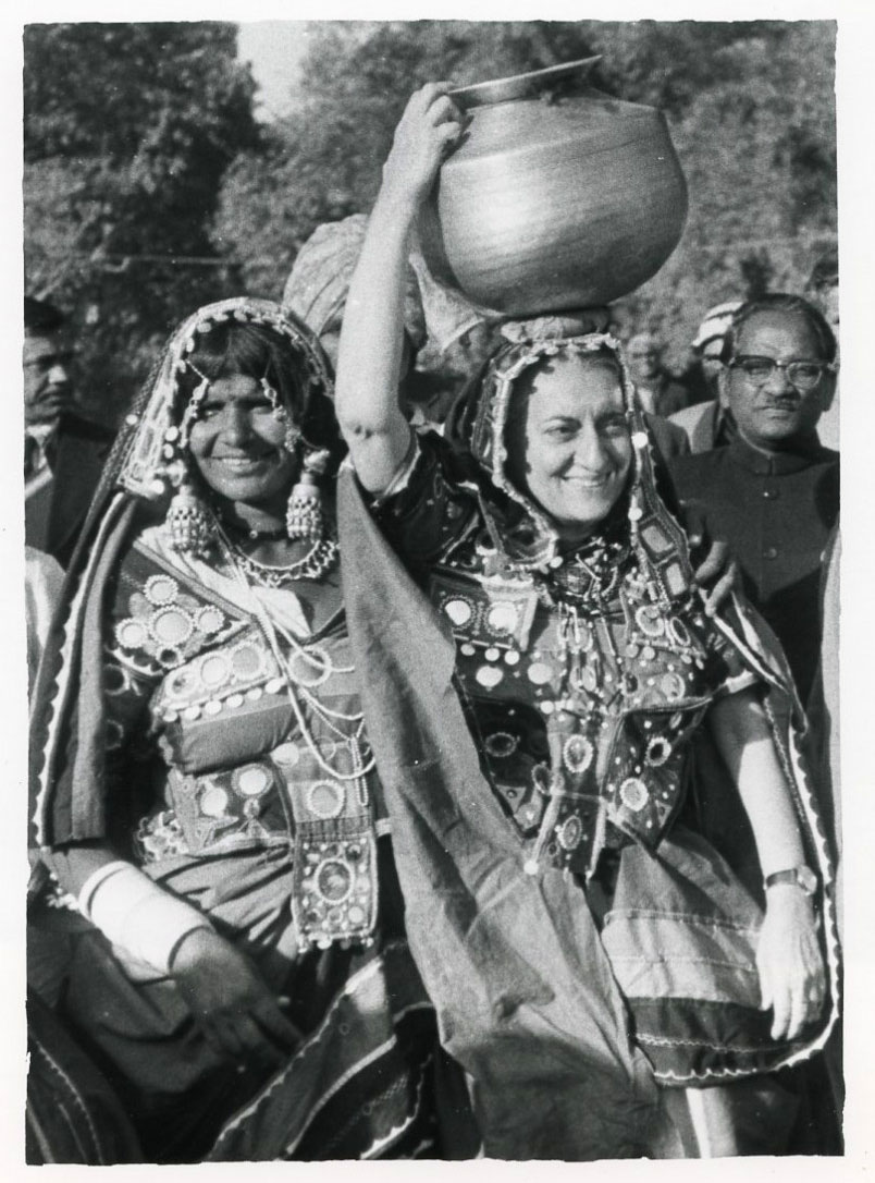 Indian Prime Minister Indira Gandhi in Traditional Costume