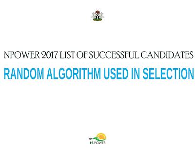 npower 2017 list of successful candidates random selection criteria