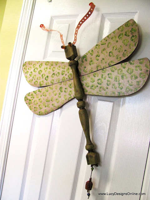 green animal print dragonfly art