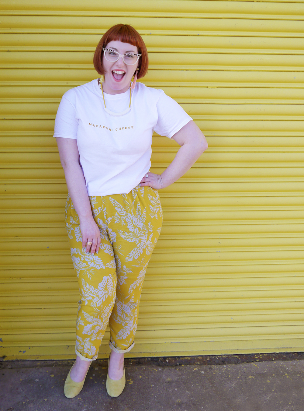 Scottish Blogger Helen of Wardrobe Coversations embraces sunshine in a yellow outfit