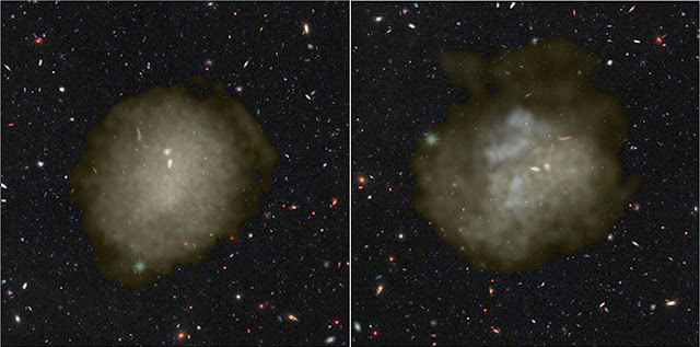 A visualization of the stellar distribution in simulated ultra-diffuse galaxies. The galaxies are just as faint as dwarf galaxies, but are distributed over an area just as large as the Milky Way. New research shows that if there are a lot of supernovae during the star formation process, it can result in the stars and the dark matter in the galaxy to be pushed outwards, causing the extent of the galaxy to expand. The fact that the galaxy is spread over a larger area means that it becomes more diffuse and hard to observe with telescopes. The picture shows two simulated Ultra-Diffuse galaxies, over imposed on a Hubble Space Telescope image of background galaxies. (Credit: Arianna Di Cintio, Chris Brook, NIHAO simulations and Hubble Space Telescope).