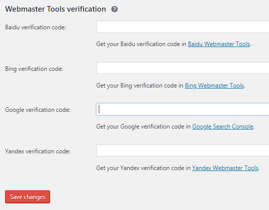 place Google verification code on Yoast SEO