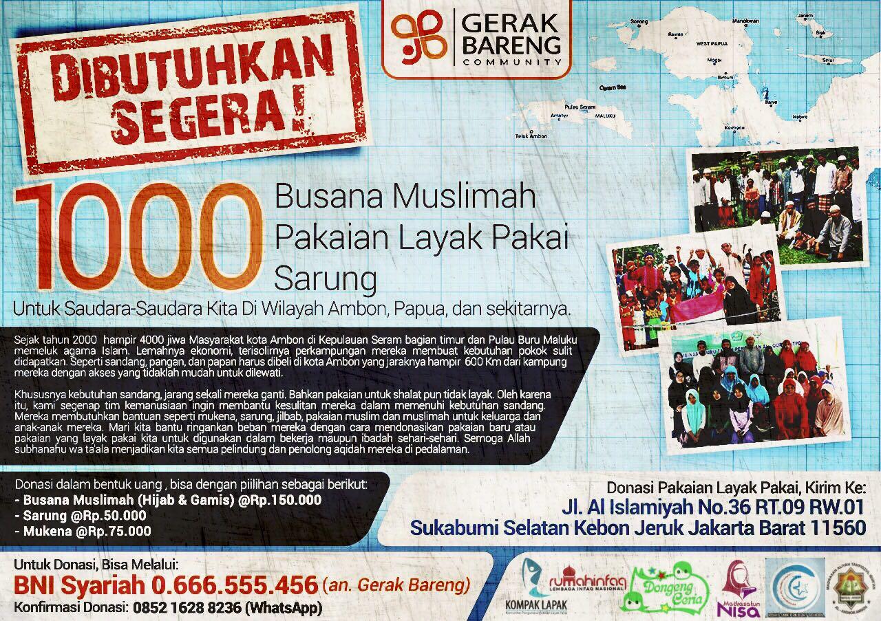 1.000 Pakaian Untuk Muslim Indonesia Timur