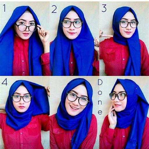contoh tutorial hijab pashmina simple terbaru 2017/2018