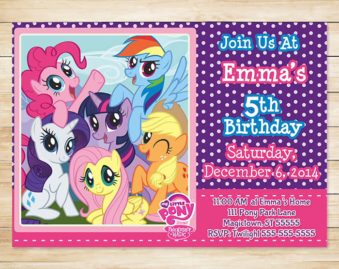 my little pony invitation printable and personalized purple free