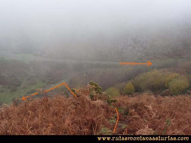 Ruta de las Xanas y Senda de Valdolayés: Cruce de Peña Rey con la Senda Valdolayés