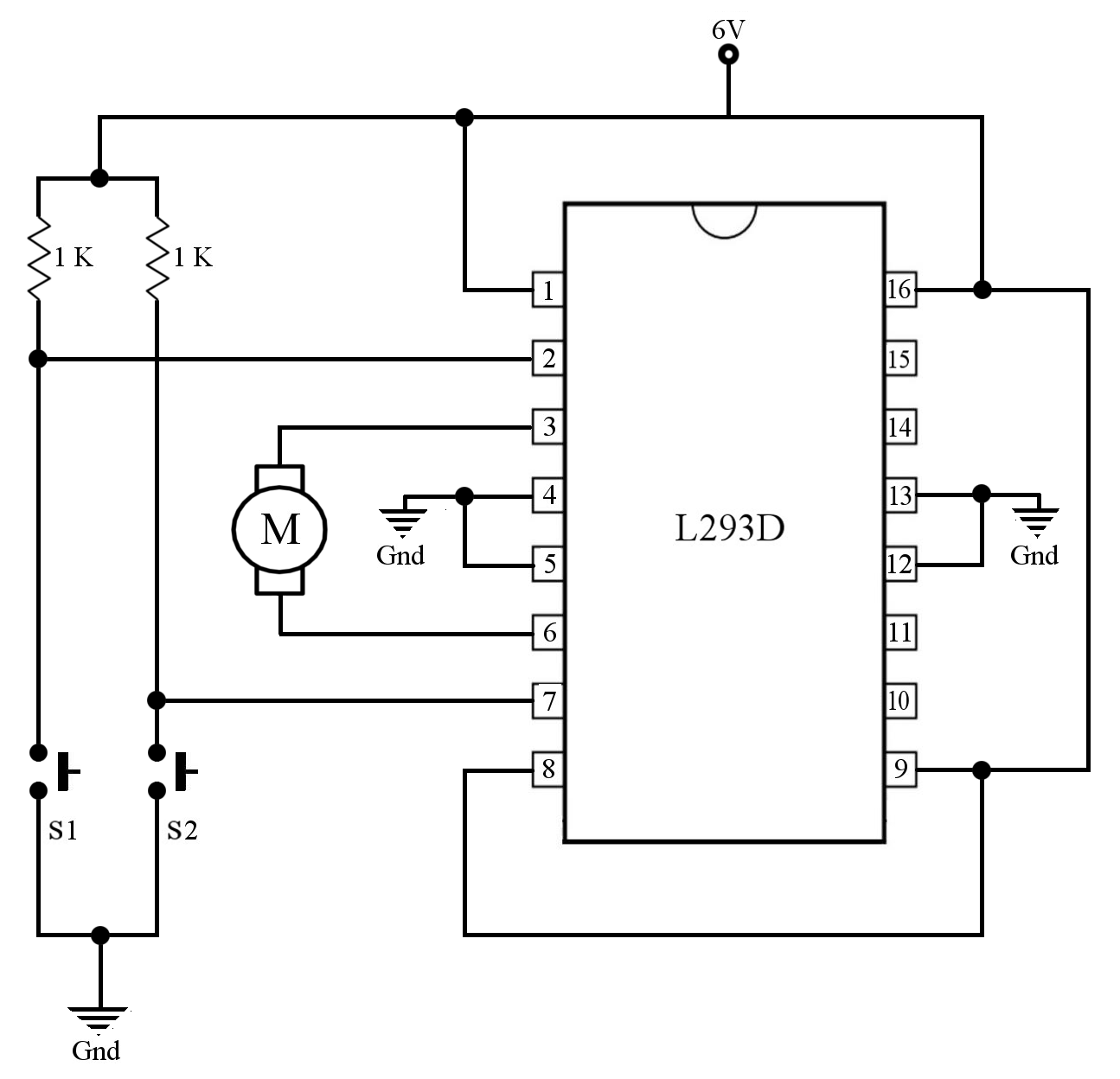 this is a sample circuit for connecting a motor to the l293d ic  [ 1295 x 1248 Pixel ]