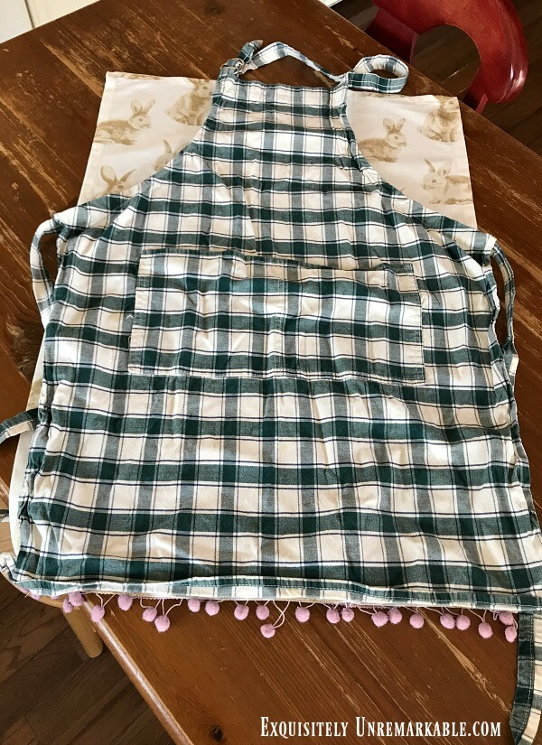 Old Checked apron over Bunny Towel As Pattern