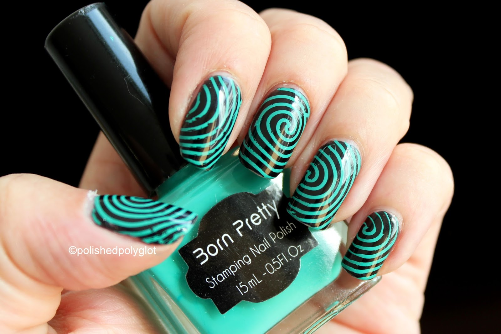 NOTD Green Stamping nail polish from Born Pretty Store