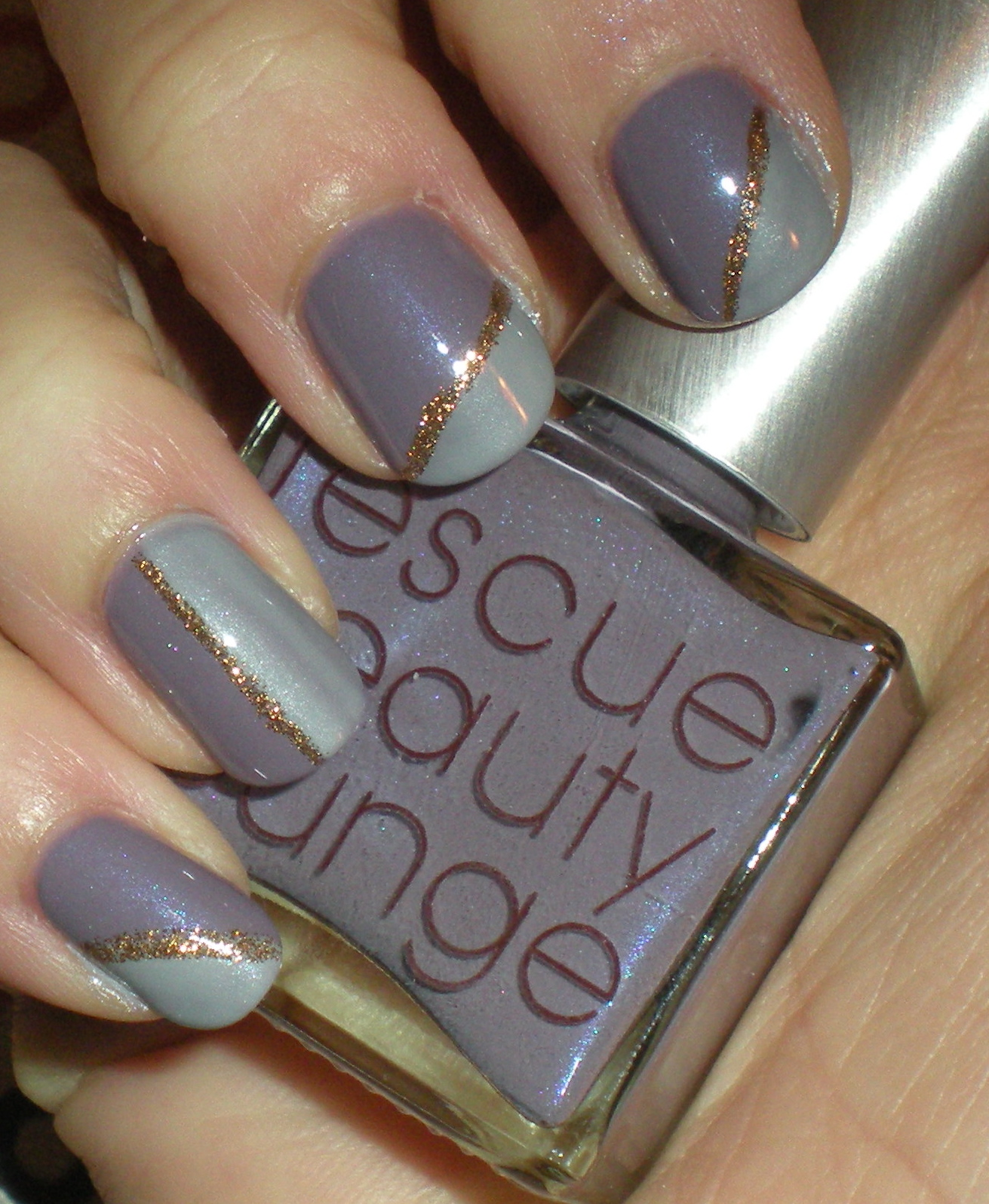 Castinails Gray And Lavender Nail Art