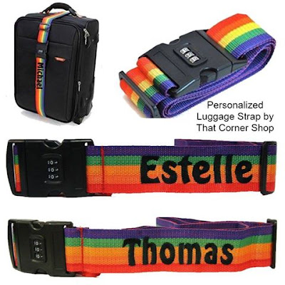 Rain-bow luggage strap with name embroidered on it