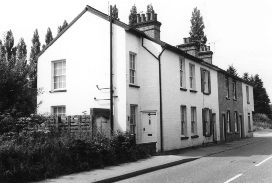 Photograph of cottages in Roestock Lane, Roestock in 1982. Image from the former NMLHS