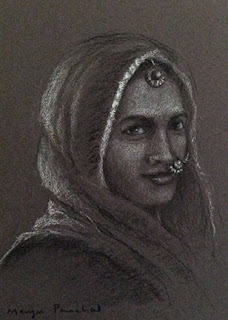 Portrait of a Rajasthani woman on Canson Mi Teintes paper, by Manju Panchal