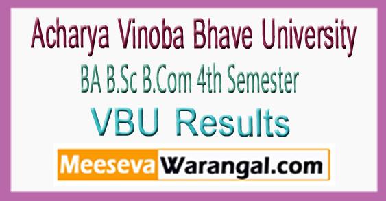 VBU Acharya Vinoba Bhave University BA B.Sc B.Com 4th Semester Result 2017-18