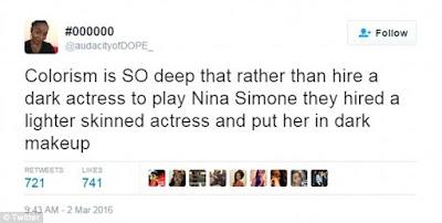 Zoe Saldana Nina Simone criticism