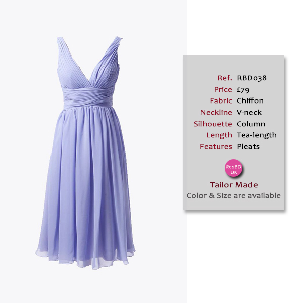 Chiffon Deep V-neck Tea-length Bridesmaid Dress