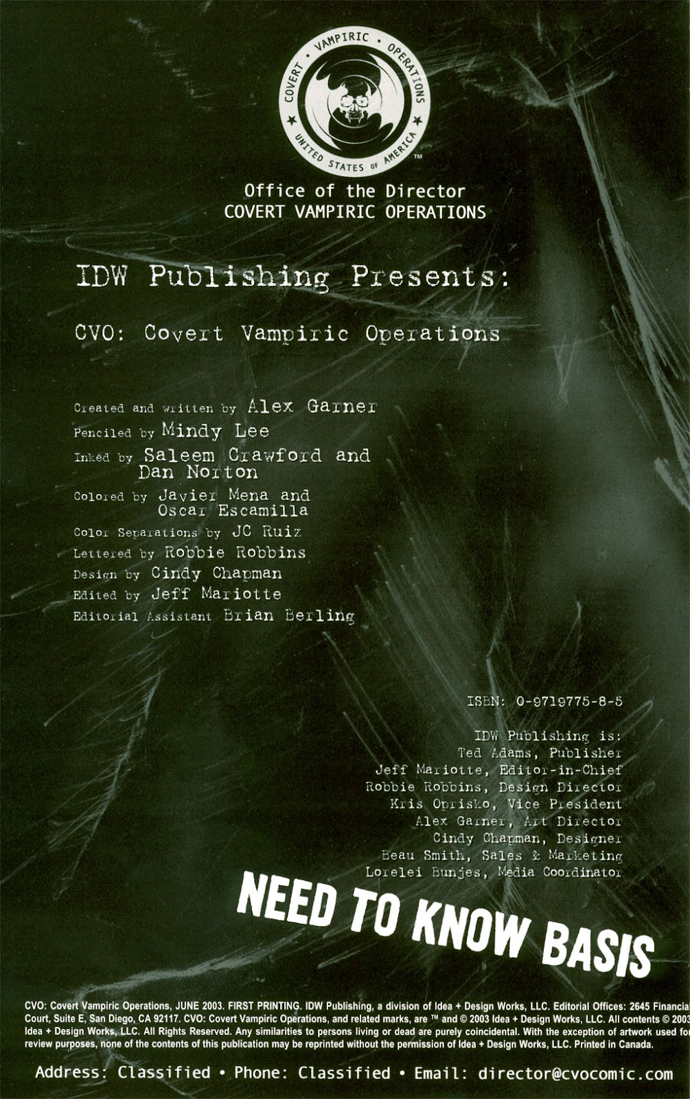 CVO: Covert Vampiric Operations issue Full - Page 1
