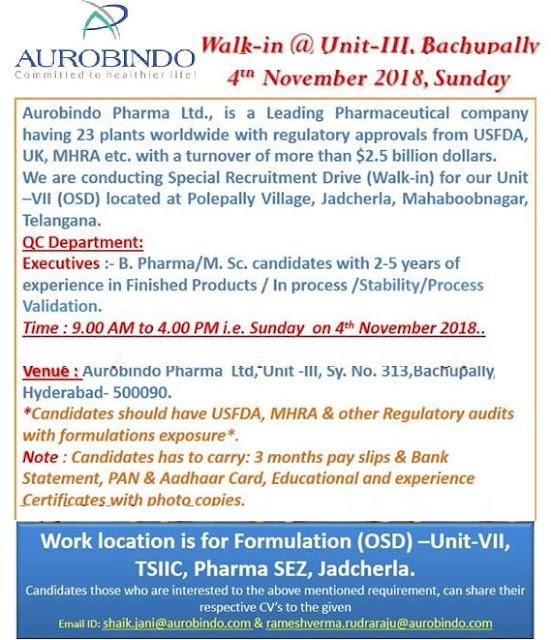 AUROBINDO PHARMA Walk-In Interviews at 4 November