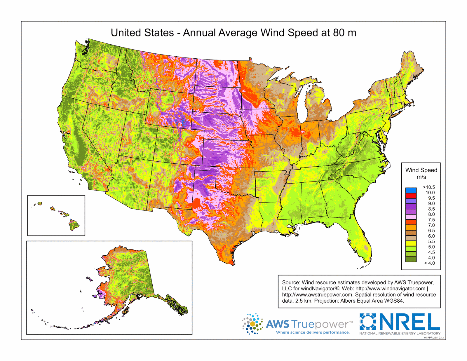 Wind Speed Map for the U.S.