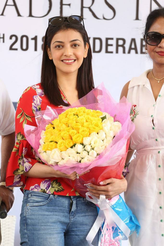 Kajal Aggarwal In Red Dress At 5th Biennial Cancer Crusaders Invitation Cup
