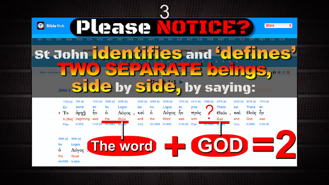 Notice: and the word was with THE GOD. We clearly read St John identifies and defines TWO separate beings together, SIDE by SIDE; the word is with (THE GOD).