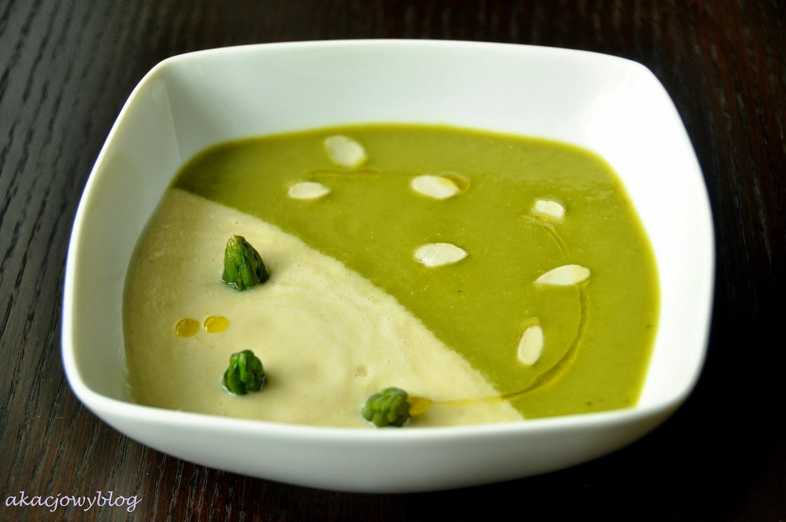 Zupa krem z białych i zielonych szparagów